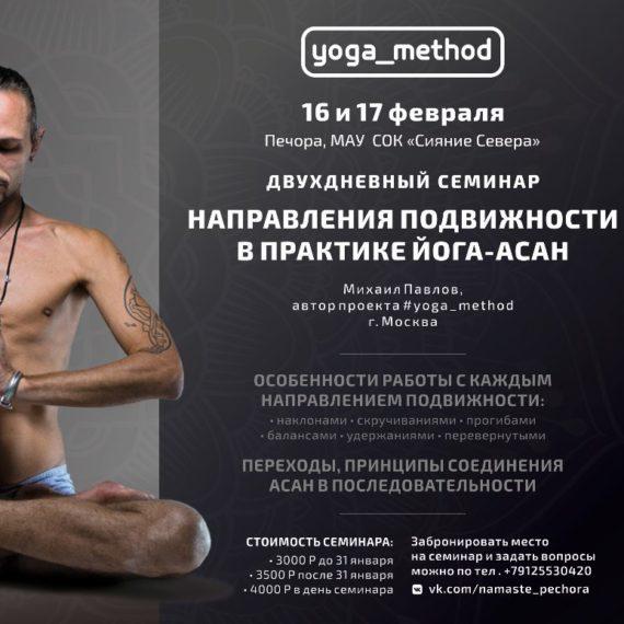 YOGA_METHOD в Печоре. 16-17 февраля. Направления подвижности в практике йога-асан